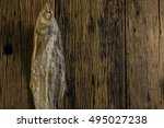 Top View Of Salted Fish Dry On...