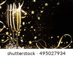glasses with champagne against... | Shutterstock . vector #495027934