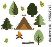 camping in the forest nature... | Shutterstock .eps vector #495029014