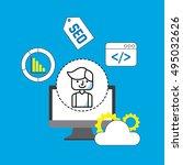search engine optimization flat ... | Shutterstock .eps vector #495032626