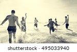 diverse young people fun beach... | Shutterstock . vector #495033940