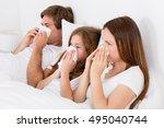 sick family allergy in bed | Shutterstock . vector #495040744