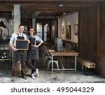 couple barista coffee shop... | Shutterstock . vector #495044329