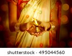 close up indian woman in... | Shutterstock . vector #495044560
