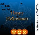 happy halloween on the dark... | Shutterstock .eps vector #495045736