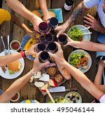 group of people dining concept | Shutterstock . vector #495046144