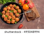 meatballs with tomato sauce on... | Shutterstock . vector #495048994