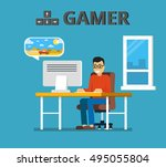 man sitting at home behind his... | Shutterstock .eps vector #495055804