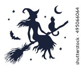 Silhouette Of Witch With Cat O...