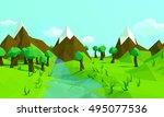 low polygonal style landscape.... | Shutterstock . vector #495077536