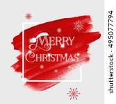'merry christmas' sign text... | Shutterstock .eps vector #495077794