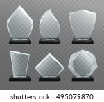 glass transparent trophy ... | Shutterstock .eps vector #495079870