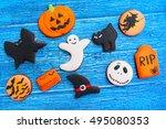 halloween homemade gingerbread... | Shutterstock . vector #495080353