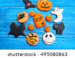 halloween homemade gingerbread... | Shutterstock . vector #495080863
