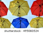 colorful umbrellas background.... | Shutterstock . vector #495083524