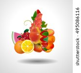 vector illustration fruit poster | Shutterstock .eps vector #495086116