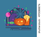 halloween party concept in flat ... | Shutterstock . vector #495088876