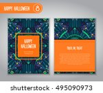 hand drawn tribal bat in the... | Shutterstock .eps vector #495090973
