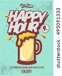 happy hour poster  for... | Shutterstock .eps vector #495091333