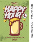 happy hour poster  for... | Shutterstock .eps vector #495091588