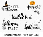 lettering phrases set. greeting ... | Shutterstock .eps vector #495104233