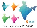 set of vector polygonal india... | Shutterstock .eps vector #495108643