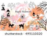 halloween. card of halloween... | Shutterstock .eps vector #495110320