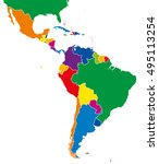 latin america single states map.... | Shutterstock .eps vector #495113254