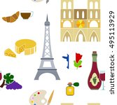 seamless pattern with  french... | Shutterstock .eps vector #495113929