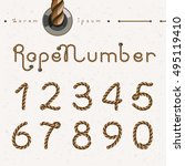 old rope hand drawn numbers...   Shutterstock .eps vector #495119410