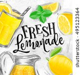 poster with lemonade elements... | Shutterstock . vector #495123364