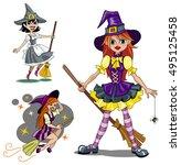 set of three cute cartoon... | Shutterstock . vector #495125458