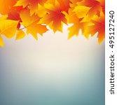 autumn leaves plant frame.... | Shutterstock . vector #495127240