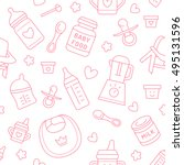 seamless pattern baby food ... | Shutterstock .eps vector #495131596