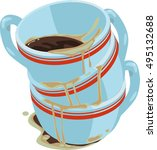 dirty coffee cups. dirty cup... | Shutterstock .eps vector #495132688