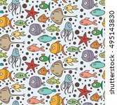 fish vector pattern. color... | Shutterstock .eps vector #495143830