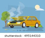 car brake down with hood open | Shutterstock .eps vector #495144310