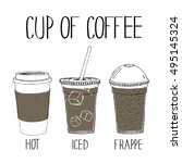 cup of coffee hand drawing... | Shutterstock .eps vector #495145324