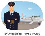 confident pilot is standing in... | Shutterstock .eps vector #495149293