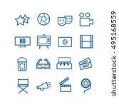 set of 16 outline cinema icons. ... | Shutterstock .eps vector #495168559