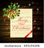 christmas background on wood | Shutterstock .eps vector #495194398
