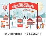 christmas market vector...   Shutterstock .eps vector #495216244