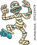 scary cartoon mummy. vector... | Shutterstock .eps vector #495219979