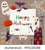halloween postcard | Shutterstock .eps vector #495220288