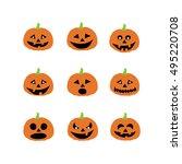 halloween pumpkin icons   Shutterstock .eps vector #495220708
