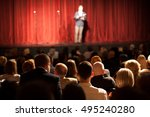 stand up comedian on stage | Shutterstock . vector #495240280