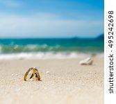 honeymoon on tropical island ... | Shutterstock . vector #495242698