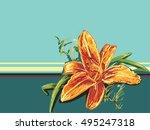 vector beautiful orange day...   Shutterstock .eps vector #495247318