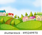 countryside scene with houses... | Shutterstock .eps vector #495249970
