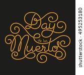 day de los muertos glow hand... | Shutterstock .eps vector #495253180